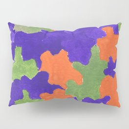 Deep Blue Orange Green  | 190112 Watercolor Abstract Painting Pillow Sham
