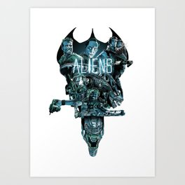 Aliens Illustration Tribute Art Print