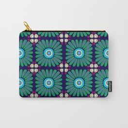 Green and Purple Daises Carry-All Pouch