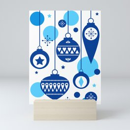 Christmas Tree Decorations in Blue and White Mini Art Print