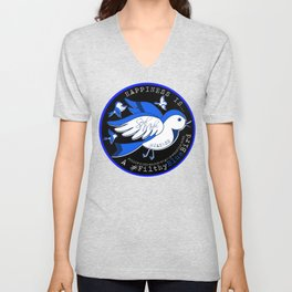 Happiness is a Filthy Blue Bird (round) Unisex V-Neck