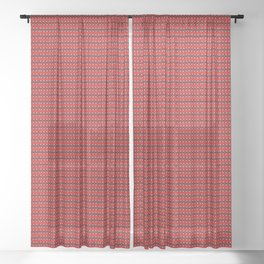 Guitars (Tiny Repeating Pattern on Red) Sheer Curtain