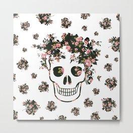 Flower Skull, Floral Skull, Pink Flowers on Human Skull Metal Print