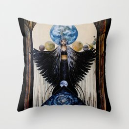 Between the Worlds // Visionary Art Woman Goddess Feminine Earth Moon Planets Stars Throw Pillow