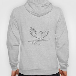 Pigeon or Dove Flying With Cane Drawing Hoody