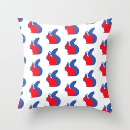 Red Squirrel Pattern Throw Pillow
