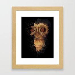polygon Monkey_Half Face Framed Art Print