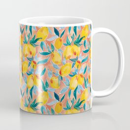 Lucky Lemons Watercolor Fruit Pattern in Peach and Yellow Coffee Mug