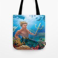 aquaman Tote Bags featuring Aquaman Black Lagoon (Sun Kissed Water Version) by Brian Hollins art