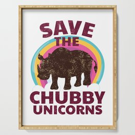 Save The Chubby Unicorns Rainbow Rhino Endangered Animals graphic Serving Tray