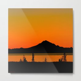 Sunset Silhouette, Mt. Redoubt - Alaska Metal Print