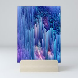 Beglitched Waterfall - Abstract Pixel Art Mini Art Print