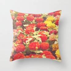 I'd like to lie in a bed of flowers Throw Pillow