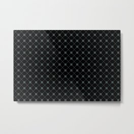 PPG Night Watch Pewter Green Thin Line Stripe Grid (Pinstripe) and Polka Dots on Black Metal Print