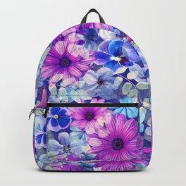 Dark pink and blue floral pattern Backpack