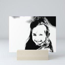 Smiling girl print, black and white little angel photography Mini Art Print