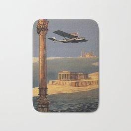 Italian vintage plane travel Brindisi Athens Istanbul Bath Mat
