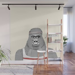 Gorillas love exercise Wall Mural