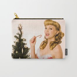 """""""What Should We Unwrap First?"""" - he Playful Pinup - Christmas Pinup Girl by Maxwell H. Johnson Carry-All Pouch"""