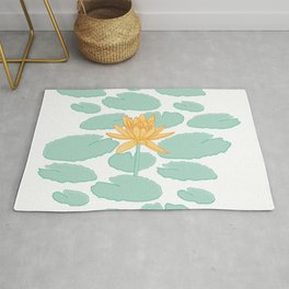 Water Lily Flower and Pads Illustration Rug