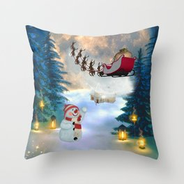 Christmas, snowman with Santa Claus Throw Pillow