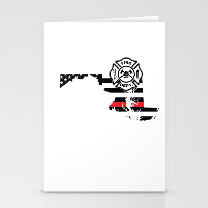 Maryland Firefighter Shield Thin Red Line Flag Stationery Cards