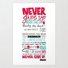 Never Give Up - Dalai Lama XIV Art Print