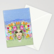 woman flowers colors Stationery Cards