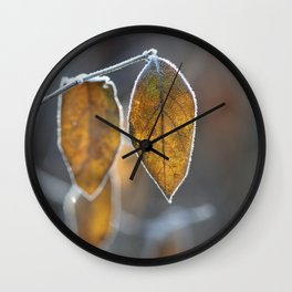 Mustard Yellow and Brown Fall Leaves on Gray Wall Clock