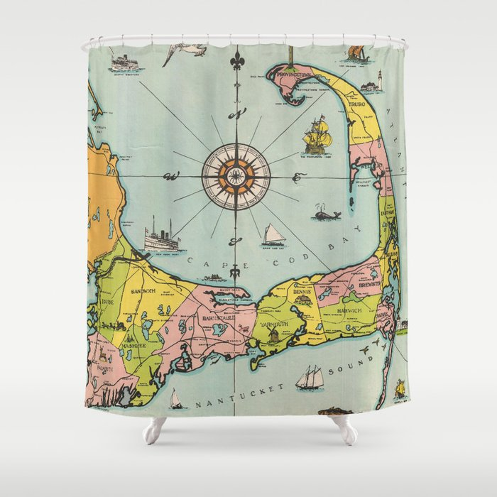 Vintage Map Of Cape Cod Shower Curtain