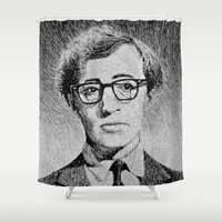 woody allen Shower Curtains featuring Woody Allen portrait  by Nicolas Jolly