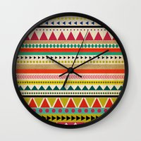 aztec Wall Clocks featuring  AZTEC by Allyson Johnson