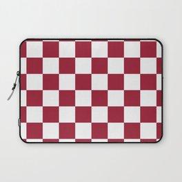 Crimson Red Checkered Pattern Laptop Sleeve