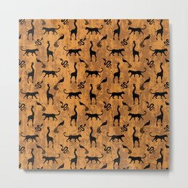 Animal kingdom. Black silhouettes of wild animals. African giraffes, leopards, cheetahs. snakes, exotic tropical birds. Tribal primitive ethnic nature chocolate brown grunge distressed pattern. Metal Print