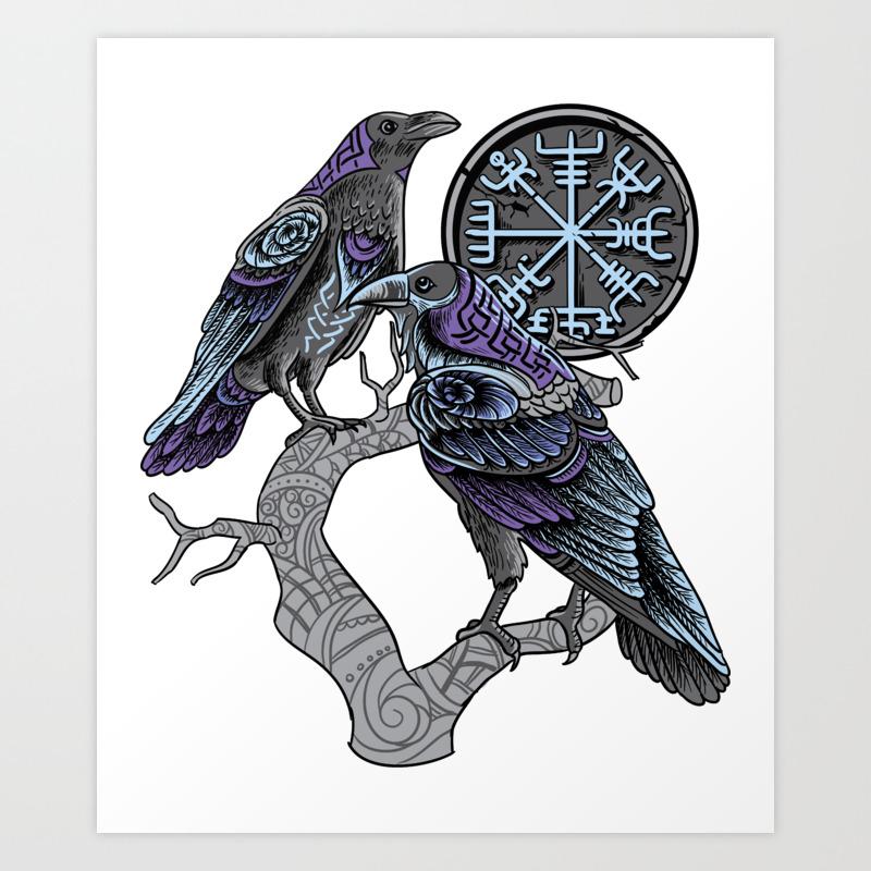 Odin's ravens Shirt viking celtic Huginn Muninn Art Print by wwb ...