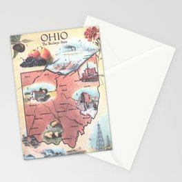 Vintage Map of Ohio (1921) Stationery Cards