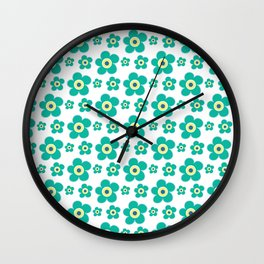 Modern green yellow hand painted floral illustration Wall Clock