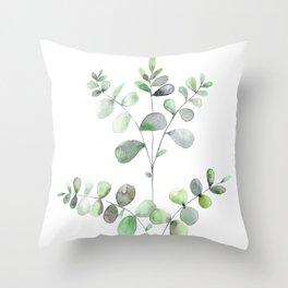 Watercolor Eucalyptus Throw Pillow