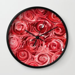Ruby Red Roses Wall Clock