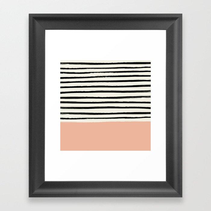 Peach x Stripes Gerahmter Kunstdruck
