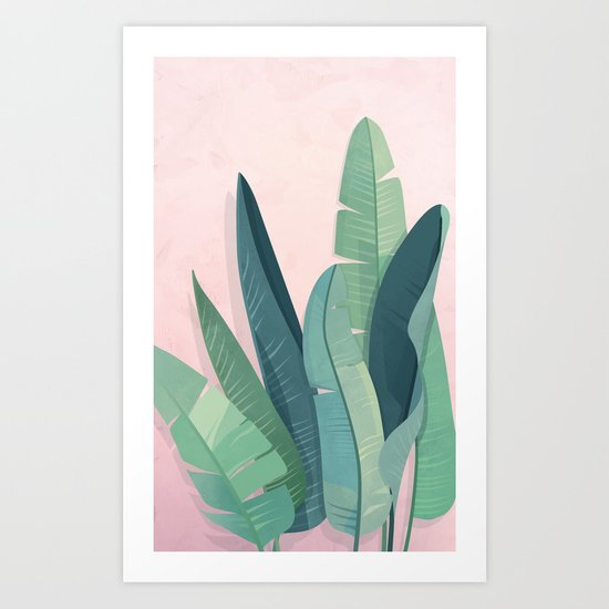 Tropical plants on pink background Art Print