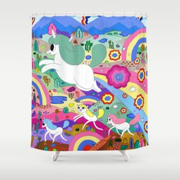 Gary the Farting Unicorn Shower Curtain