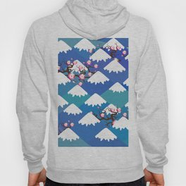 Spring Nature background with Japanese cherry blossoms, sakura pink flowers landscape. blue mountain Hoody