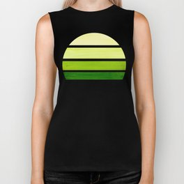 Sap Green Mid Century Modern Minimalist Circle Round Photo Staggered Sunset Geometric Stripe Design Biker Tank