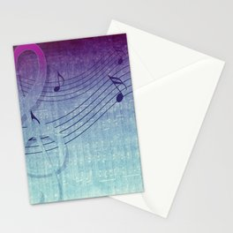 Aqua Purple Ombre Music Notes Stationery Cards