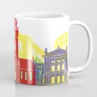 oslo Mugs featuring Oslo skyline pop by Paulrommer