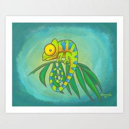 Colorful Chameleon! Art Print