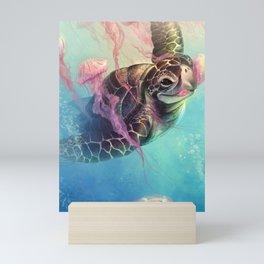Sea Turtle and Jellyfish! Mini Art Print