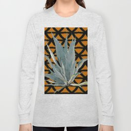 MOCHA BROWN GREY DESERT AGAVE CACTI PATTERNED ART Long Sleeve T-shirt