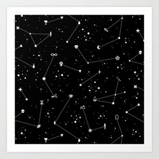 Constellations (Black) Art Print